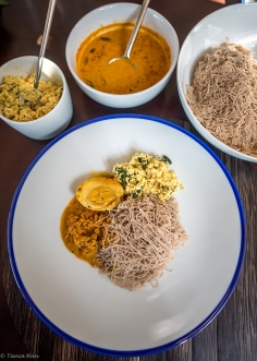 String hoppers and egg curry