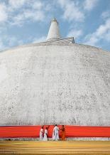 Monks adjusting stupa sash, Anuradhapura